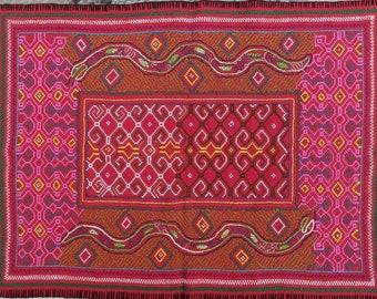 Large shamanic SHIPIBO SNAKE cosmic anaconda  handmade embroidery tapestry