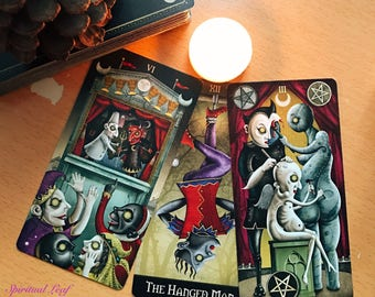 Same day Psychic 1 one / 3 Three card tarot intuitive reading with the Deviant Moon Tarot, love romance work career money family readings