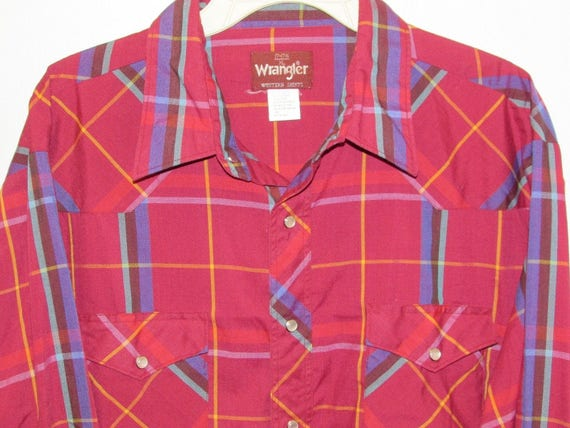 5b0f7053 SALE Vintage Mens Long Sleeve Burgundy Plaid Western Snap