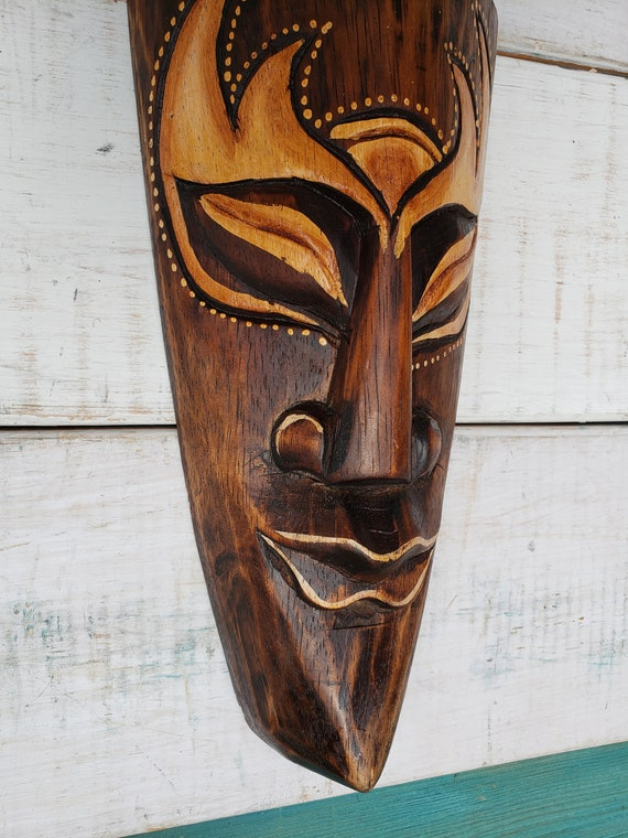"20/"" Custom Handcarved Wood Tiki Mask W Cocktails Tropical Hawaiian Design BROWN"