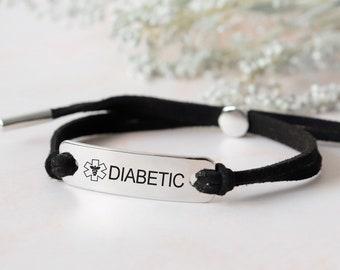 Custom diabetic bracelet, emergency bracelet, medical Id bracelet woman, cord medical alert bracelet, autism bracelet, allergy bracelet