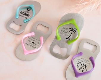 Custom flip flop bottle opener set, personalized party favors, beach personalised bottle opener wedding favor, pool summer birthday gifts
