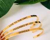 Personalized inspirational bracelet, motivation bracelet, custom quote bracelet, message bracelet, be brave bracelet, best friend bracelet
