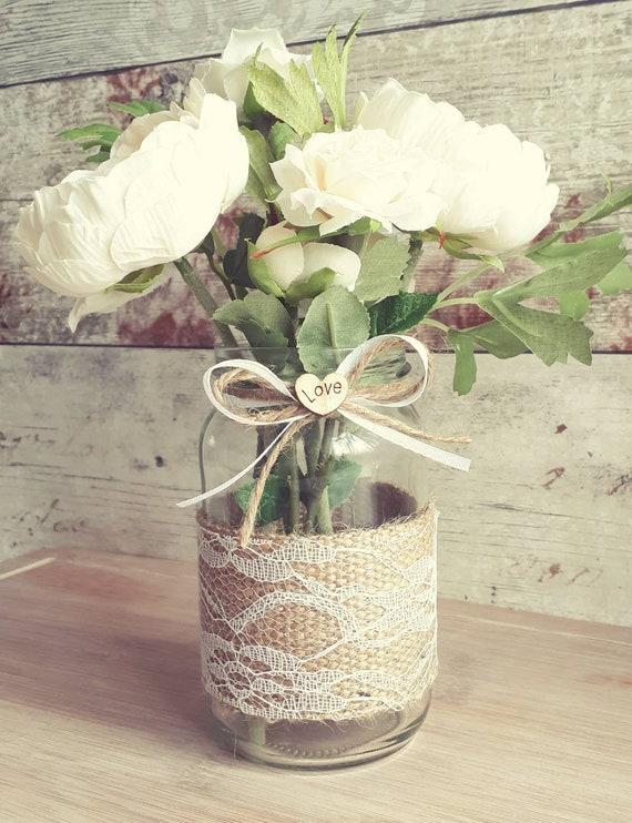 10 X Vintage Glass Jar//Vase Wedding Centrepieces Hessian Shabby Chic