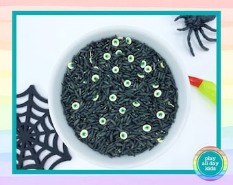 Creepy Halloween Rainbow Rice Sensory Mix / Sensory Play / Sensory Rice / Sensory Bin / Sensory Filler / Halloween Sensory / I Spy Bottles