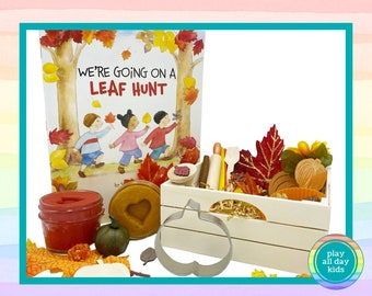 Personalized Fall Play Dough Kit / Autumn Play Dough Sensory Kit / Fall Sensory Bin / Playdough Kit / Kids Book Box / Loose Parts