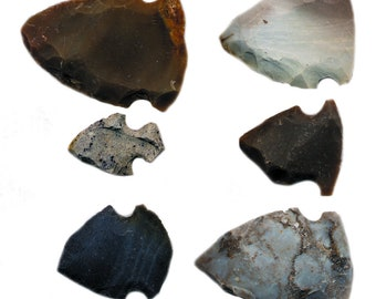 """100  LARGE Arrowheads 2/"""" Obsidian,REAL STONE,Hand Knapped,SPEAR,Stones,Minerals"""