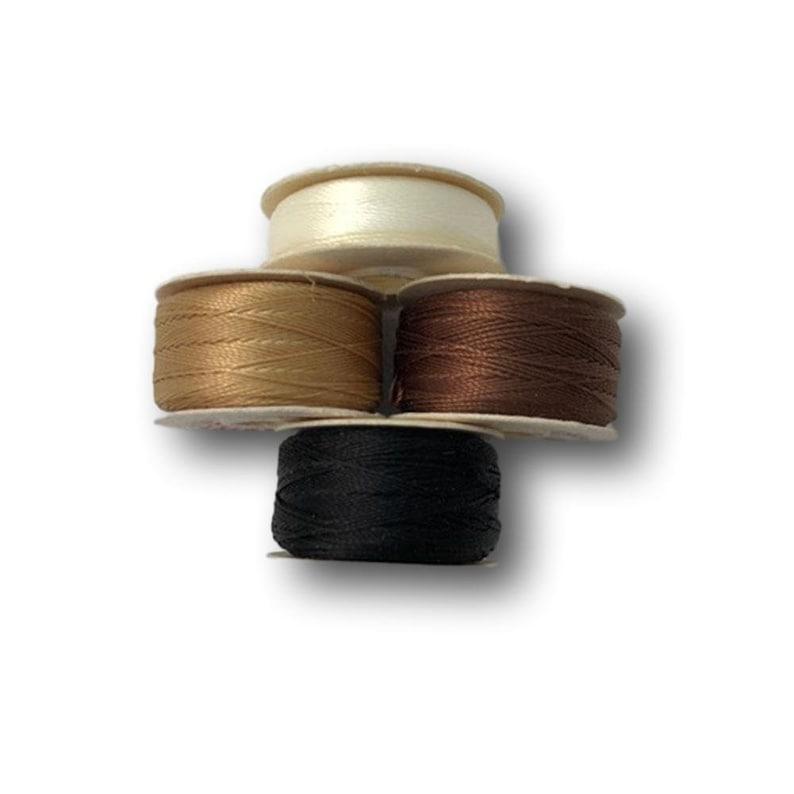Tan White Black Prewound Sewing Bobbins Brown