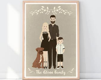 Vintage family portrait, Customized family portrait illustration, Printable portrait illustration, Custom portrait, Old photograph