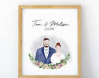 Wedding watercolor portrait, Wedding illustration, Anniversary, Personalized wedding portrait, Couple portrait illustration, Wedding gift