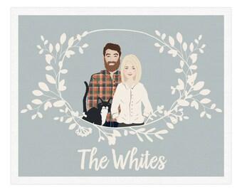 Family Portrait, Customized Family Portrait Illustration, Printable Portrait Illustration, Custom Portrait, Family Illustration