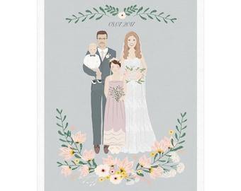 Wedding portrait, Wedding illustration, Couple with a child, Personalized wedding portrait, Couple portrait illustration, Wedding gift