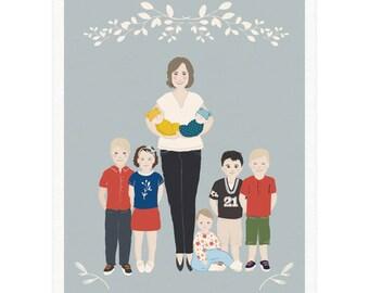 Gift for Grandma, Grandma Gift Personalized Portrait, Printable Portrait Illustration, Custom Portrait, Family Illustration