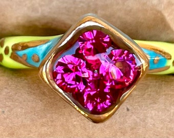 Discounted Size 9.5 lime green and Caribbean blue ceramic ring with 22kt gold accents and hot pink glass rhinestones.