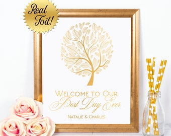 Wedding Welcome to our Best Day Ever Gold Foil Sign with Tree and Custom Names