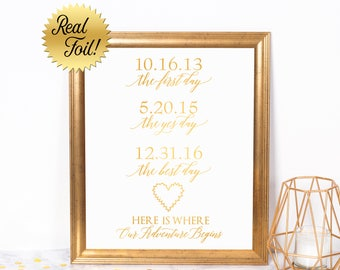 Custom Wedding Sign The First Day The Yes Day The Best Day with Real Foil and Heart