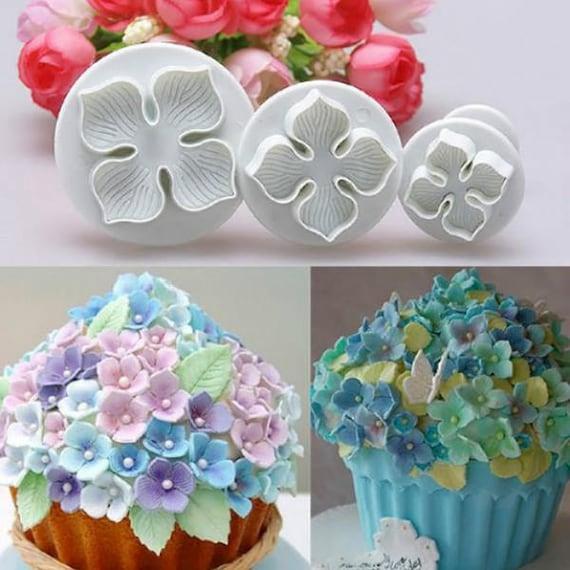 3 Piece Hydrangea Flower Cutter Fondant Cake Decorating