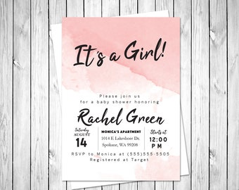 It's a Girl Baby Shower Invitation/Baby Girl Shower Invitation/Pink/Baby Shower Invitation/Baby Shower Invitation girl/Baby/Watercolor