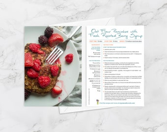 """Recipe Greeting Cards, """"Thank you berry much,"""" Thank You Card, Oat Flour Pancakes with Fresh Roasted Berry Syrup, Healthy Gifts"""