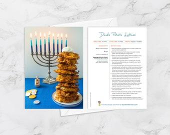 "Recipe Greeting Cards, ""Hope your Hanukkah is lit,"" Dad's Potato Latkes, Jewish Foods, Hanukkah Card, Jewish Foodie Card"