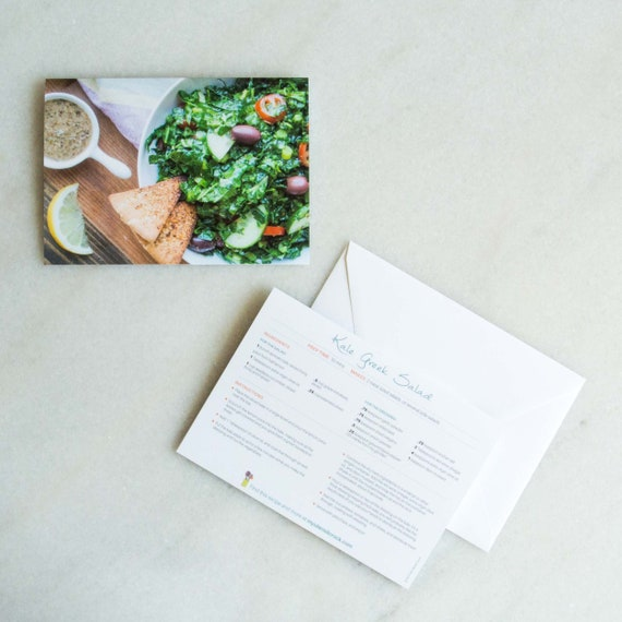 Recipe Greeting Cards Blank Card For Foodies And Cooks Kale Greek Salad Healthy Gifts