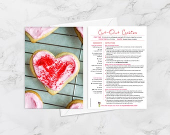 Recipe Greeting Cards, Blank Card for Foodies and Cooks, Cut-Out Cookies, Valentine's Card