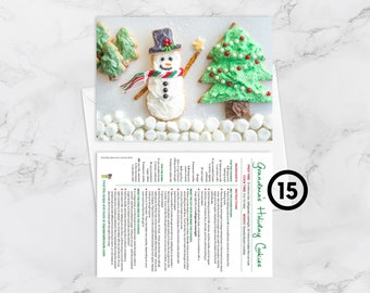 """BOX OF 15 Recipe Greeting Cards, """"Wishing you a sweet & sparkly Christmas,"""" Grandma's Holiday Cookies, Christmas Card, Christmas Cookies"""