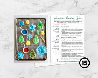 BOX OF 15 Recipe Greeting Cards, Blank inside, Grandma's Holiday Cookies, Christmas Card, Christmas Cookies