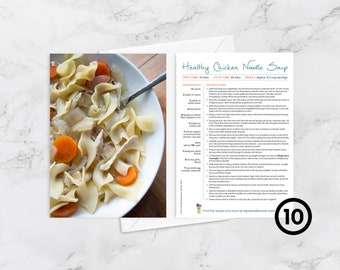 """BOX OF 10 - Recipe Greeting Cards, """"Feel better souper soon,"""" Get Well Soon Card for Foodies and Cooks, Chicken Noodle Soup"""