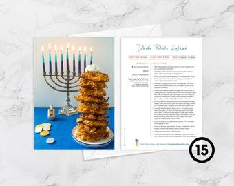 "BOX OF 15 Recipe Greeting Cards, ""Hope your Hanukkah is lit,"" Dad's Potato Latkes, Jewish Foods, Hanukkah Card, Jewish Foodie Card"