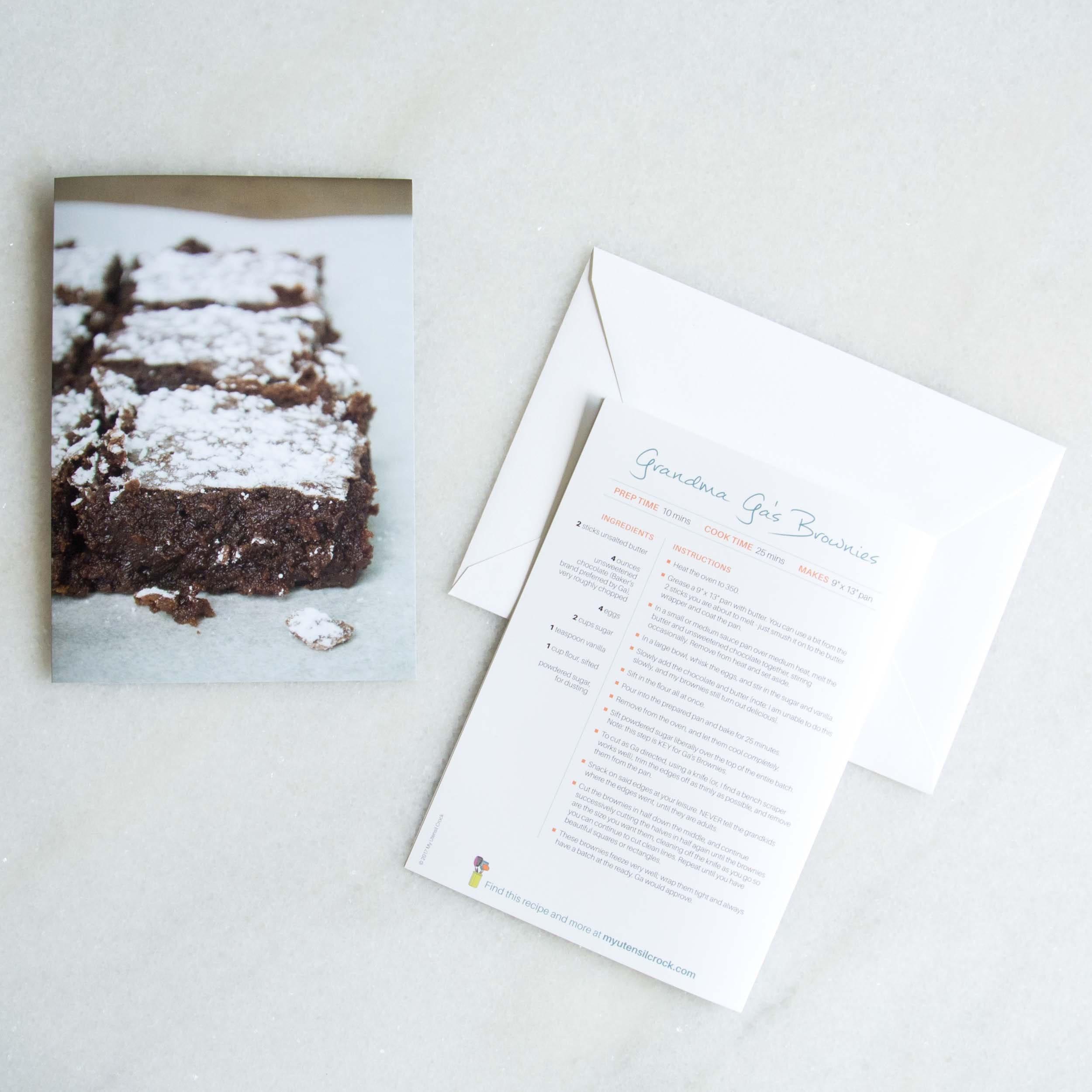 Recipe Greeting Cards Grandma Gas Brownies Etsy