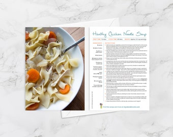 """Recipe Greeting Cards, """"Feel better souper soon,"""" Get Well Soon Card for Foodies and Cooks, Chicken Noodle Soup"""