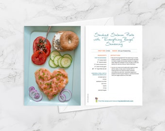 """Recipe Greeting Cards, Blank Card for Foodies and Cooks, Smoked Salmon Plate with """"Everything Bagel"""" Seasoning, Jewish Foods"""