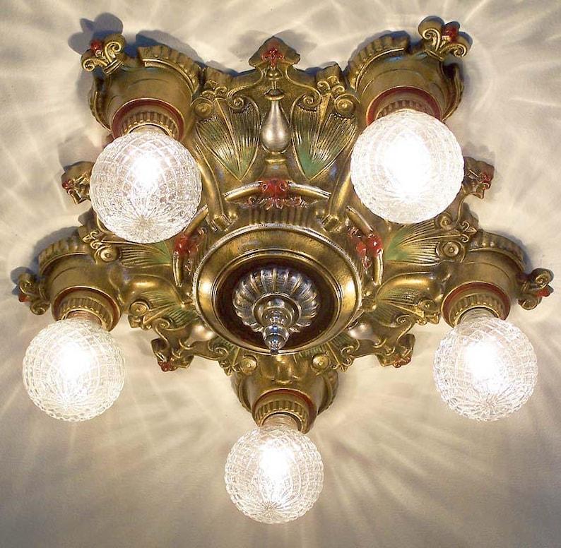 805 20/'s 30s  LaSalle aRT NOUVEAU Ceiling Lamp Light  POLYCHOME 1 of 3