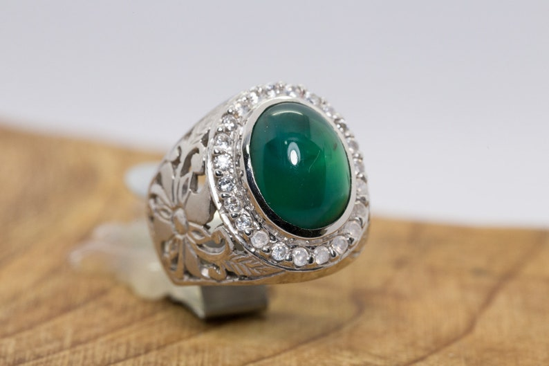 Mens Ring GemSilica Chrysocolla in Chalcedony
