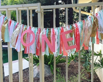 Rag Tie Banner Garland - Fabric Banner - 1st Birthday Banners - Rag Garland - Rag Banner - Rag Tie Banners - Coral Mint & White Theme -Decor