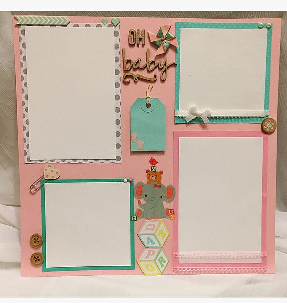 Baby Girl Scrapbook Page Premade Scrapbook Pages Baby Etsy