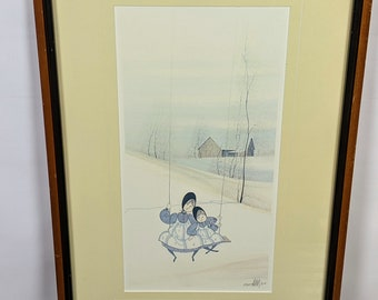 Pat Buckley Moss Limited Edition Framed Print Mom /& Daughter Swinging 1982