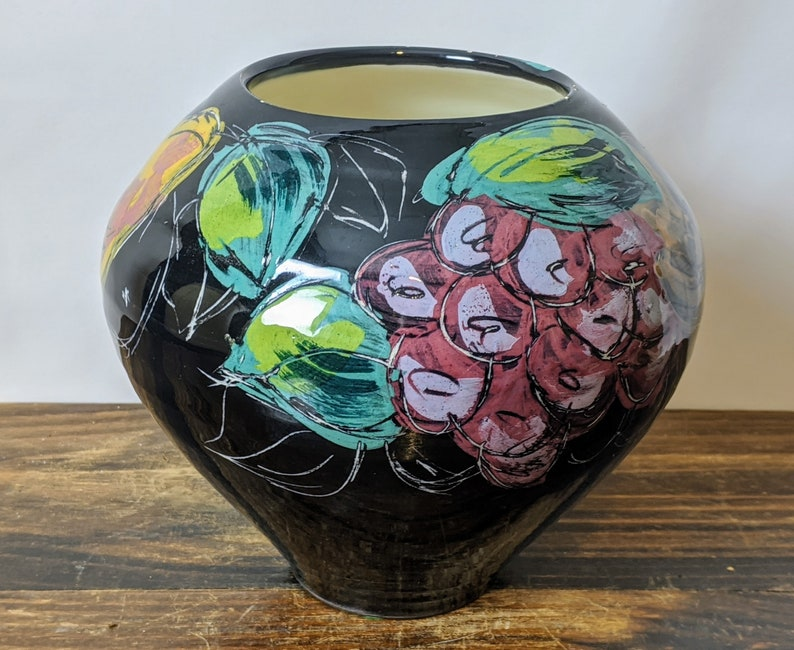 Sally Jaffee Hand Painted Studio Pottery Vase with Fruit Design