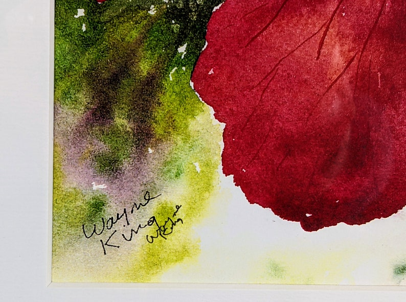 Wayne King Limited Edition Framed Print of a Flower Signed and Numbered 41100