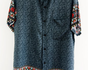 O'Carioca American Indian Short Sleeve Button Up Shirt with a relaxed fit.