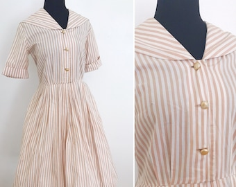 1950's Sailor Cut Tan and White Circle Skirt Dress