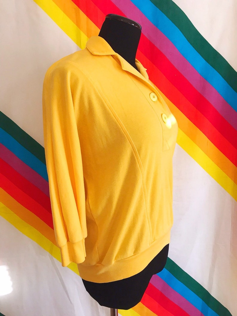 90s Yellow Polo Vintage Yellow Sweater 90s Vintage Yellow Quarter Length Sweater Button Up
