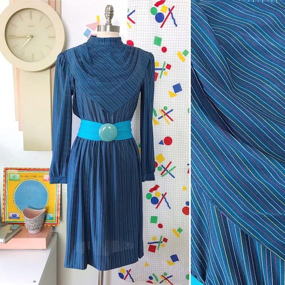 80s Vintage Rainbow Striped Blue Dress - Vintage R