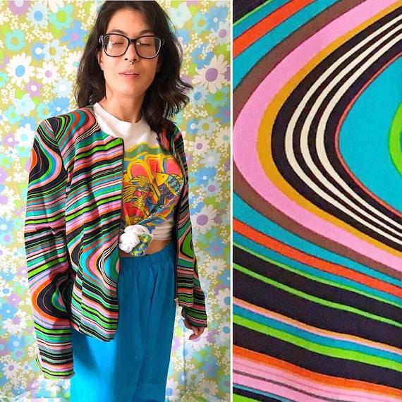 90s Vintage Silk Rainbow Striped Moto Jacket - Vin