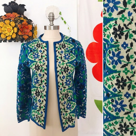 60s Vintage Catalina Jacquard Wool Blue and Green