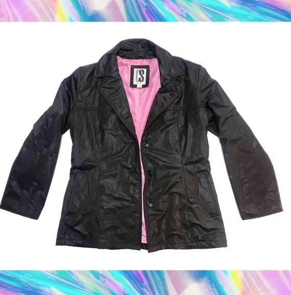 90s Vintage CS Signature Hot Pink Lined Raincoat V