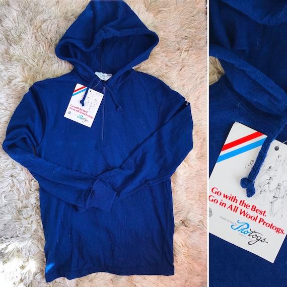 70s Vintage Deadstock Blue Protogs Wool Hoodie wit