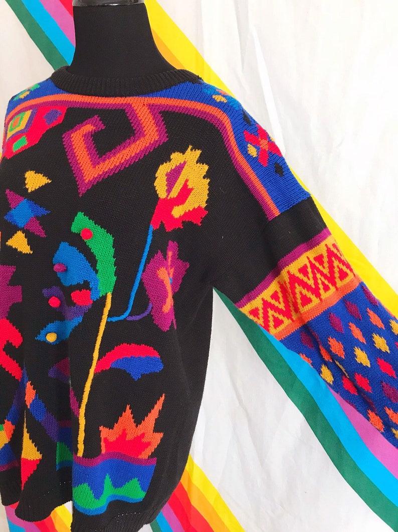 Vintage Rainbow Pom Pom Sweater Vintage Rafaella Rainbow Sweater 80s Vintage Pom Pom Rainbow Aztec Sweater