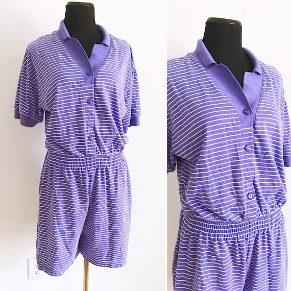 80s Vintage Purple Striped Cotton Romper - 80s Lav